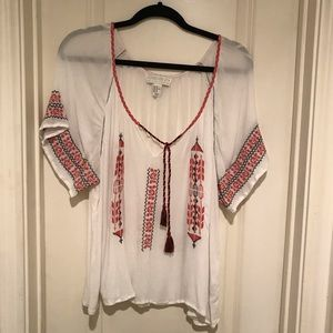 Forever21 White Boho Embroidered Top